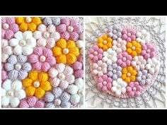 Crochet Easy Puff Flowers Learn to crochet easy puff flowers. I love the sensible colors of these flowers and their amazing, nearly hypnotic design. It is very simple and great for ornaments on larger garments and pillows. Diy Crochet Flowers, Crochet Puff Flower, Yarn Flowers, Crochet Flower Tutorial, Knitted Flowers, Crochet Flower Patterns, Crochet Motif, Crochet Crafts, Crochet Projects