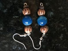 Coconut and Blue Agate Earrings by KainaluCreationsCo on Etsy