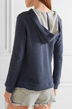 Splendid - Lace-up French Cotton-terry Hooded Top - Storm blue - x large