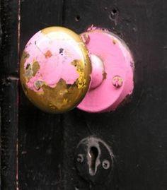 A once pink doorknob...