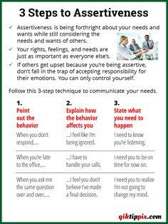 3 Steps to Assertiveness Assertive Communication, Effective Communication Skills, Communication Activities, Communication Boards, Coping Skills, Social Skills, Life Skills, Counseling Activities, Therapy Activities