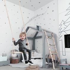 The most delightful kids interior! Use rope inspired cabling and our bark lighting components for your forest cabin lighting. Baby Bedroom, Baby Boy Rooms, Nursery Room, Kids Bedroom, Bedroom Ideas, Child's Room, Room Kids, Kids Room Design, Kid Spaces