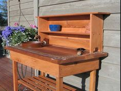 Potting Bench – Faucet – Sink & Shelf With Blue or Brown Glass Tile. (please specify color on your order) - Modern