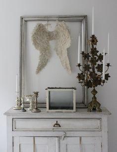 candelabra, mercury glass, wings