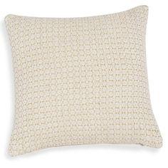 Housse de coussin en coton blanc et fil doré 40x40cm IBIZA