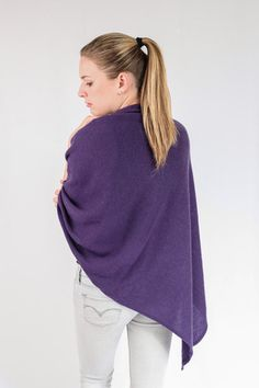 Deep Purple 100% Cashmere Poncho for sale online in South Africa – Pebble&Jack