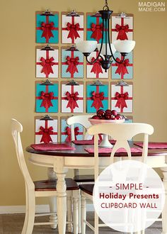 Modern holiday wall decor using clipboards - love the graphic presents!