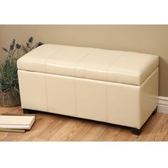 Ariel Ivory Faux Leather Storage Bench Ottoman Furniture Living Room Bed Foot pc #WarehouseofTiffany