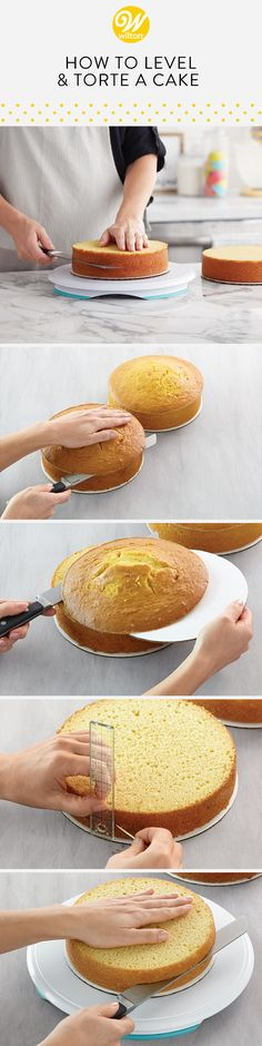 Learn how to create a perfectly even surface by leveling your cake! This allows your cake layers to ice and stack much easier! Torte your cakes to height to your cake and also allows your cake to stake evenly #wiltoncakes #cakes #cakesofinstagram #cakestagram #cakestyle #cakesofig #cakesdaily #instacake #cakeoftheday #cakedecorating #buttercream #frosting #buttercreamfrosting