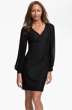 Marc New York by Andrew Marc Illusion Sleeve Shimmer Sheath Dress available at #Nordstrom