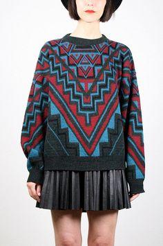 Vintage 80s Sweater Southwestern Knit Black by ShopTwitchVintage #vintage #etsy #80s #1980s #sweater #jumper #aztec #geometric #cosby #knit