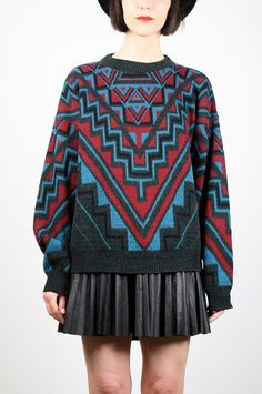 Vintage 80s Sweater Southwestern Knit Black by ShopTwitchVintage #vintage #etsy #80s #1980s #sweater #jumper #aztec #geometric #cosby #knit