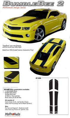 """Camaro BUMBLE BEE 2 : 2010 2011 2012 2013 Chevy Camaro Racing Vinyl Graphics Stripes Kit.  Factory """"Transformers"""" Style for Hood, Roof, Trunk and Spoiler!  Factory OEM Style at a discount price!"""