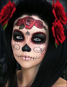 Dia de los Muertos style makeup. **Uploaded by user, no tutorial. Simple, nice inspiration.**