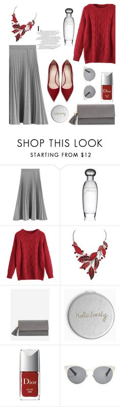 """""""Sunday mood"""" by isidora ❤ liked on Polyvore featuring Estée Lauder, Katie Loxton, Christian Dior, skirt, Heels, Sweater, zaful and zafulsweater"""