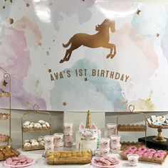 Unicorn Basic Party Display #caketable #pastel #unicorn 1st Birthday -