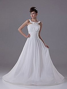 Beaded Scoop Neckline A Line Chiffon Wedding Dress with X Back - USD $182.00