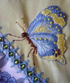 vikki posted Satin Stitch Embroidery on a Crazy Quilting Block. to their -quilting fever- postboard via the Juxtapost bookmarklet. Silk Ribbon Embroidery, Crewel Embroidery, Cross Stitch Embroidery, Embroidery Patterns, Machine Embroidery, Butterfly Embroidery, Crazy Quilt Stitches, Crazy Quilt Blocks, Crazy Quilting