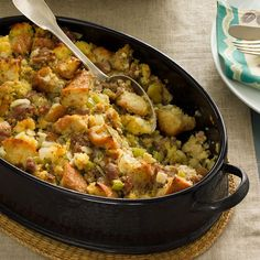Sausage & Corn Bread Dressing Recipe -At our house, we add sausage and a little steak sauce to this cornbread dressing for a meal that warms our cold winter nights. —Mandy Nall, Montgomery, Alabama