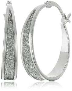 Sterling Silver Glitter Hoop Earrings ** Details can be found by clicking on the image.