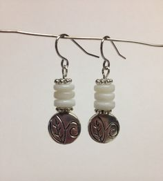 Silver Earrings with White Shell Beads by HazelJewelryDesigns