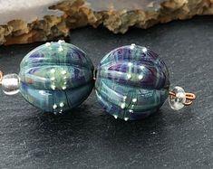 Glossy Handmade Lampwork Beads by Beadfairy Lampwork SRA Starry Night 1 Earring Pair Long Cones
