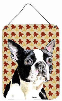Boston Terrier Fall Leaves Portrait Aluminium Metal Wall or Door Hanging Prints