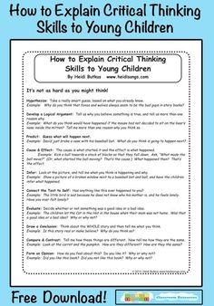 Teachers need to learn how to explain critical thinking to young children as well. Here are some tips on How to Explain Critical Thinking Skills to Young Children. Critical Thinking Activities, Critical Thinking Skills, Teaching Strategies, Teaching Tools, Teaching Resources, Critical Thinking Quotes, Teaching Study Skills, Teaching Art, Kids Education