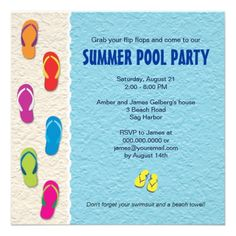 b03fdc78811911 Flip Flop Pool Party Invitation Pool Party Invitations