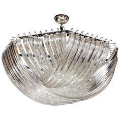 Modernist Murano Glass Ribbon Chandelier | 1stdibs