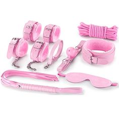 LEADO Leather SM Fetish Plush Bondage Restraints Erotic Set with Adjustable Straps,Sex Toys for Adult-Pink ** Read review @ http://www.amazon.com/gp/product/B01DNYGH6A/?tag=naughtystore0c-20&op=300716224419