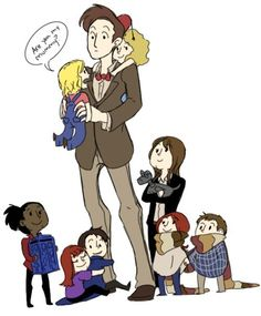 The Doctor is holding Rose, River's on his back, Sarah Jane is older than the rest of them and she's holding K-9. Amy and Rory are holding hands and swaddled in the 4th Doctor's scarf, Martha is protecting the T.A.R.D.I.S., Jack is hugging the Doctor and Donna is hugging Jack. ♥