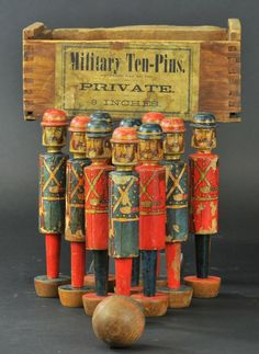 Antique - Military Ten Pins - toy * I like objects arranged in formation, and the faded, distressed colours. Metal Toys, Tin Toys, Wood Toys, Children's Toys, Vintage Games, Vintage Toys, Antique Toys, Vintage Antiques, Victorian Toys