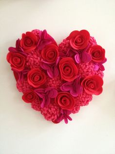 Felt valentine heart wall art-- roses, mums, and heart flowers