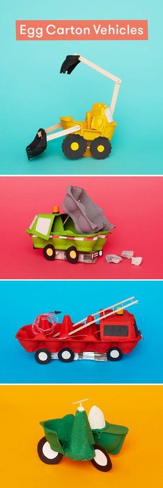 8 egg box vehicles you can craft at home Turn egg cartons into vehicles with this ingenious cardboard craft for kids. The post 8 egg box vehicles you can craft at home appeared first on Knutselen ideeën. Crafts For Boys, Toddler Crafts, Projects For Kids, Diy For Kids, Craft Projects, Children Crafts, Craft Ideas, Crafts Toddlers, Creative Ideas For Kids