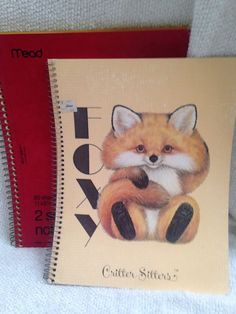 Vintage Critter Sitters 3 Ring Binder Paper 1980s Foxy Fox MEAD Co