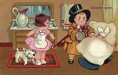terrier Scottie Westie dog and doctor boy l artist postcard 1933