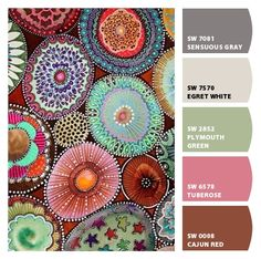 Paint colors from ColorSnap by Sherwin-Williams. ChipCard by Reni Apostolova. Beautiful Color Combinations, Color Combos, Color Schemes, Sherwin William Paint, Color Stories, Dot Painting, Happy Colors, Color Pallets, Painted Rocks