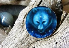 Bear Totem- bear brooch OR pendant - Hand painted on wood by Amaya de la Hoz.