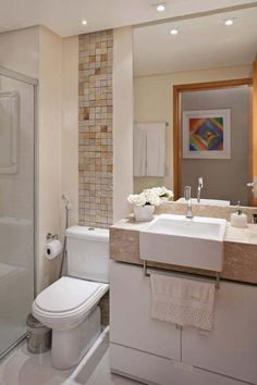Dozens of ideas to help you decorate a small bathroom and bring style to the most important room in the house. Find organizational tips, artwork, and more. Bad Inspiration, Bathroom Inspiration, Wc Decoration, Bathroom Toilets, Beautiful Bathrooms, Small Bathrooms, Small Apartments, New Homes, Sweet Home