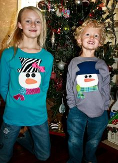 snowman applique - I did this for Cora, Emery, and Addison. They were really cute!