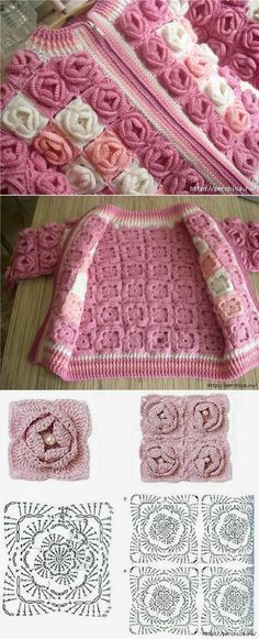 Crochet jacket granny square 26 Ideas for 2019 Col Crochet, Gilet Crochet, Crochet Jacket, Crochet Chart, Crochet Squares, Irish Crochet, Crochet Motif, Crochet Flowers, Crochet Stitches