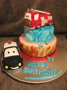 Awesome Homemade Fire Engine Birthday Cake Fire engine and
