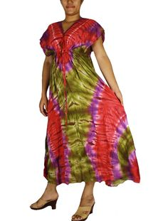 Siam2u Hippie V-Neck Tie Dye Cotton Long Kimono Women Summer Dress. Maxi, Dress, plus size dress, Women's dress,sexy dress, summer dress, beachwear. long dressm hippie dress, gypsy dress, Kimono dress, Kimono, sundress,sexy dress. casual dress,Maxi, hippie dress, tie dye, tie dye dress, bohemian,clothing, Women's Clothing. Women's dress, maternity, colorful dress, multi-color dress,plus size dress.