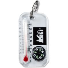 REI Therm-o-Compass: Keep a backcountry resource center at your fingertips! This tool has both a compass and thermometer with wind-chill chart. Attach to your zipper or keyring for at-your-fingertips access.