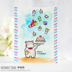 Create a smile: Treat Yourself Watercolor Cards, Simple Watercolor, Birthday Cake Card, Treat Yourself, Cas, Cardmaking, Whimsical, Treats, Scrapbooking Ideas