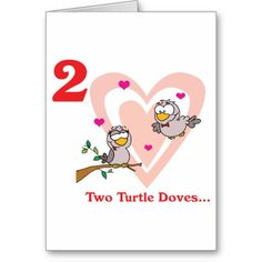 12 days of Christmas, two turtle doves greeting card