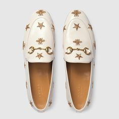 Gucci Jordaan embroidered leather loafer in White leather with gold thread embroidered bees and stars Gucci Jordaan Loafer, Mocassins Cuir, Loafer Mules, Gucci Shoes, Loafers For Women, Gucci Loafers Women, Shoes Women, Luxury Shoes, Outfits