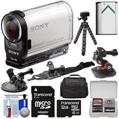 Sony Action Cam HDR-AS200V Wi-Fi HD Video Camera Camcorder with 32GB Card + Helmet, Arm & Suction Cup Mounts + Battery + Case + Flex Tripod + Kit