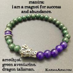 Chakra Yoga Bracelets. Dragon Amethyst. Beaded Charm Mala. Meditation. Mantra Spiritual.